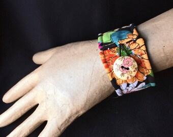 """Wrist cuff 8"""", fiber art bracelet, art to wear cuff, textile art cuff, fiber jewelry, Cuff bracelet, OOAK, Wearable wrist cuff art  #37"""