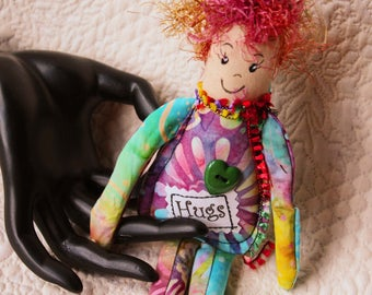 Hugs Art Doll, Joy & Hugs doll, Small art doll, Hugs Spirit, Unique doll ornament, small doll, pocket doll, cloth art doll OOAK, Joy Hugs #3