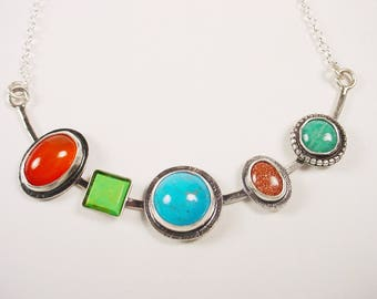Multi-stone Necklace Sterling Silver Carnelian, Gasperite, Turquoise, Goldstone, Amazonite Bar Necklace Sterling Chain