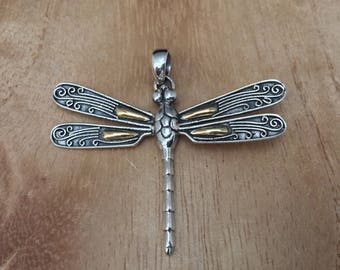 Dragonfly Pendant // Gold and Silver Dragonfly Pendant // Dragonfly Pendant // 925 Sterling Silver // Bali Design