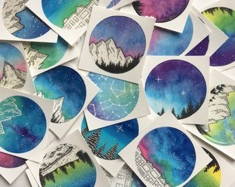 Galaxy Stickers, Sticker Grab Bag, Sticker Set, Nature Stickers, Vinyl Stickers, Art Stickers, Galaxy Art, Nature Art, Sticker Bag, Sticker