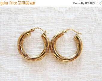 On SALE 10% Off Vintage 9K Gold Uno A Erre Italian Earrings,  9 Carat Gold Hoop Earrings, 9 ct Gold Finely Patterned Hoops