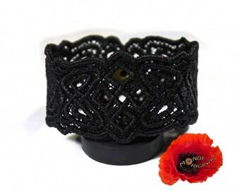 Black embroidered Celtic bracelet