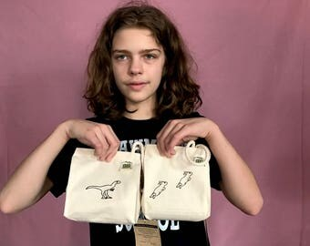 Snack Bags FEATURING original art and modeled by emily burke ! Dinosaur or Bunnies !!
