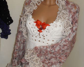 A beautiful, braided bolero, warm soft mohair, purple and beige