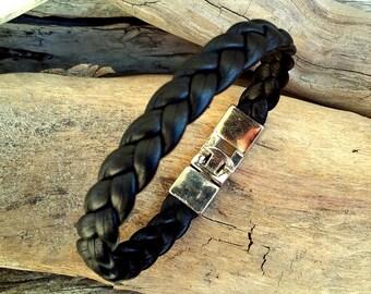 Leather bracelet for Man, black leather, braided, Boho jewelry , By Dodie