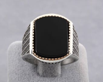 925 Sterling Silver Handmade Men's Special Occasion Ring with Black Onyx Stone