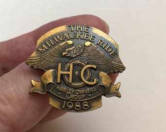 Vintage Harley Davidson Owners Group Pin. H.O.G. The Milwaukee Ride. 1988 Motorcycle Commemorative Collector. Harley Rider Gift Gift for Him