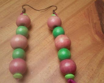 earrings with pink and green wooden beads