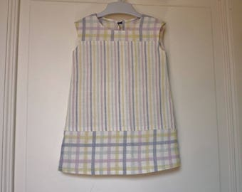 Straight shape, sleeveless, stripes and Plaid baby dress size 12 months