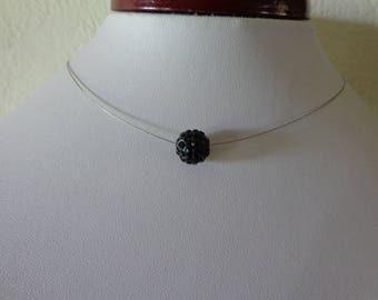 Necklace black crystal rhinestone wedding ball beads