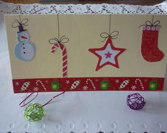 Christmas card with red and green buttons as Christmas ornaments, a Garland of masking tape