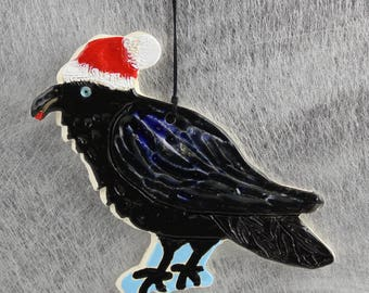 Raven Christmas Ornament, Ceramic Crow, Blackbird Handmade from Clay by Karlene Voepel. Sold individually.
