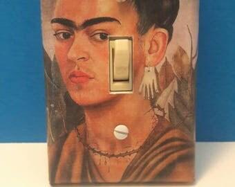 Handmade Frida Kahlo Light Switchplate Cover, Decoupage, Frida Kahlo, Mexican Artist, Switchplate Cover, Wall Decor, Made By Mod.