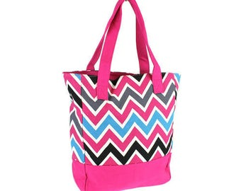 Hot pink, Turquoise, Black Chevron Canvas Tote