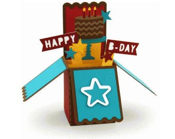 Happy Birthday Box Card , Cake , Candle , Balloons , Party Hat , Blank card , Guys , Gals , Kids , Teens , 3D