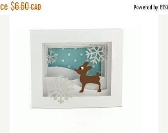 SALE Christmas In July Reindeer Card , Shadow Box , Snow , Glitter , Holidays , Snowflakes , Christmas , Festive