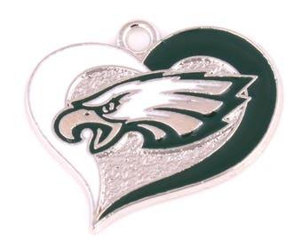 Philadelphia Eagles Heart Charm