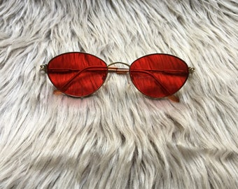 Red Vintage Style Sunglasses / Red Sunglasses / Red Lenses