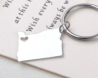 I heart Oregon keychain - Oregon keyring - Map Jewelry - State Charm - Map keychain