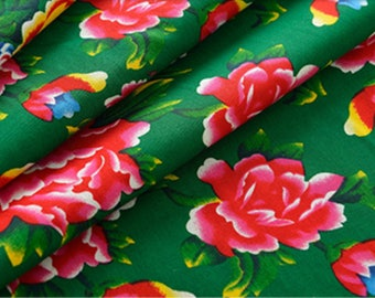 fabric Peony Chinese traditional cotton green 3 m