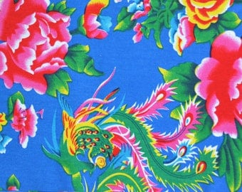 Chinese Fabric asisan Blue cotton Peony by 1/2 meter 0.5m
