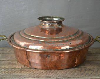 Large Antique Copper Pot & Lid (2)