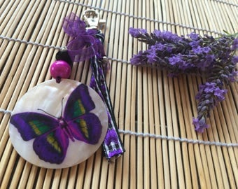 Purple mother of Pearl Butterfly bag charm
