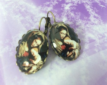 Earrings ' Ave Maria glass cabochon