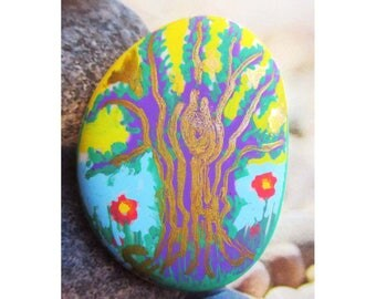 "White glass Pebble handpainted ""Stylized tree"", Pebble paperweight"