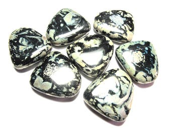 2 BLACK PEBBLE BEADS MARBLES GRAY BEAD 20/25 MM GOLD