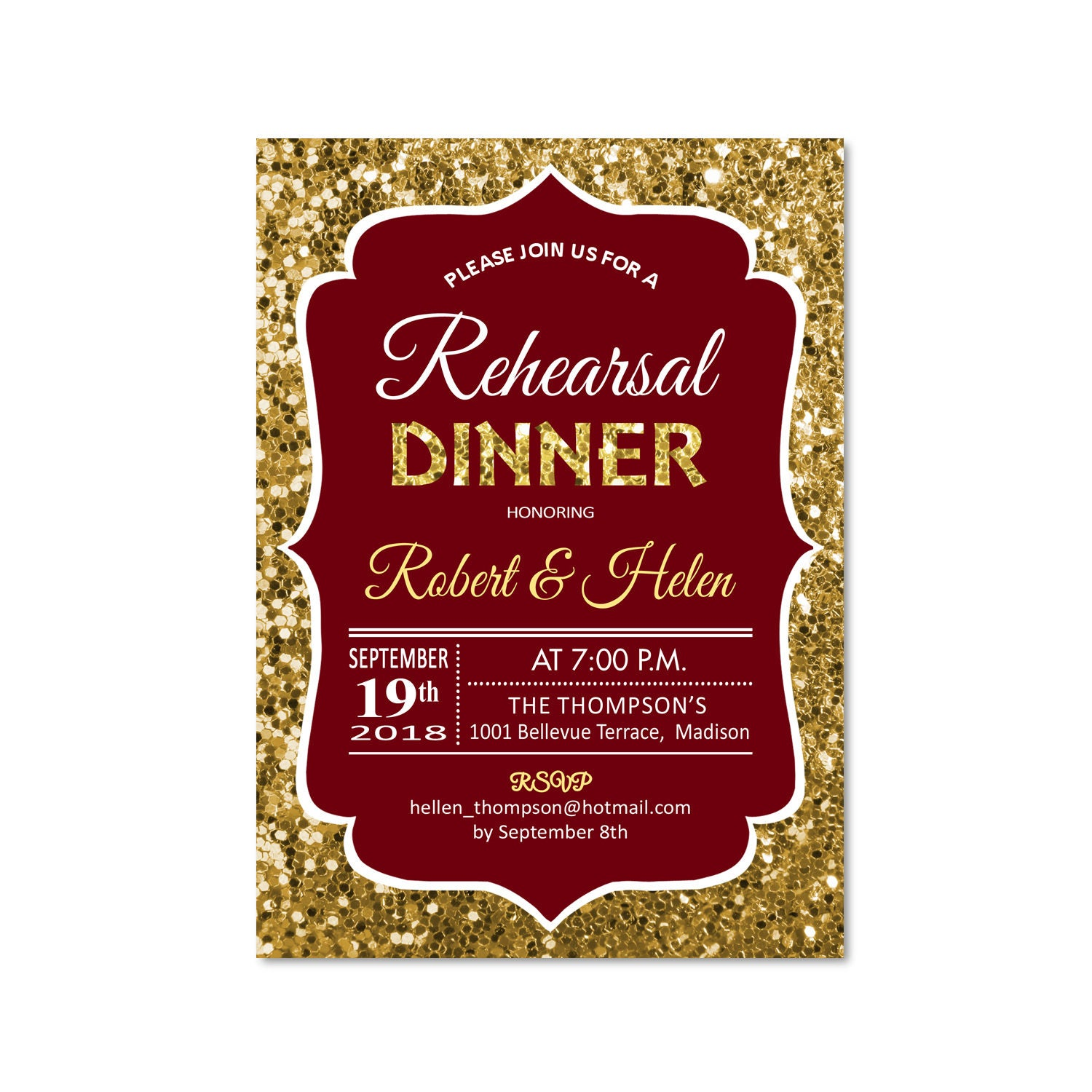 Rehearsal Dinner Invitation / Glitter Gold Burgundy Wine Deep Red ...