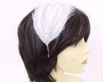 Light Grey White Silver Feather Headpiece 1920s Headband Fascinator Flapper 3486
