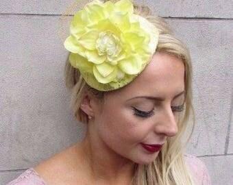 Gold Yellow Flower Fascinator Hair Headband Races Statement Rose Teardrop 4124