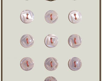 Set of 10 vintage buttons mother of Pearl 10 mm ivory color