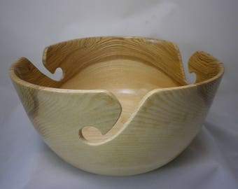 "Wooden Yarn Bowl- Hand Turned Ash Wood. 9"" inch diameter. #.5"