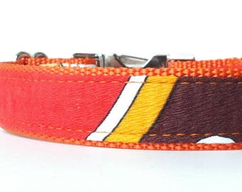 Bright Orange Dog Collar, Autumn Dog Collar, Fall Dog Collar, Colorful Fabric Dog Collar, Vintage Dog Collar, Unique Fabric Collar