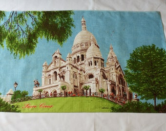 Vintage Irish Linen Tea Towel with Sacre Coeur printed, New and Unused