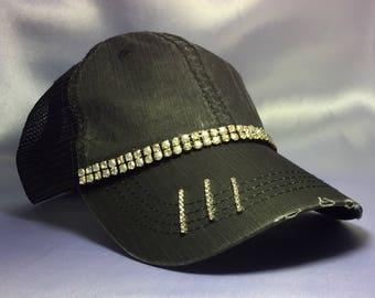 Women's Trucker Hat. Bling Hat. Rhinestone Cap. Ladies Black Trucker Hat.