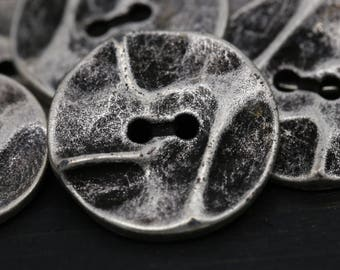 "Silver Metal Button/ 4pcs Flat Button/ Antique Silver Wrinkled Button/ Two Holes  36 Ligne 23mm 15/16"" BL061"
