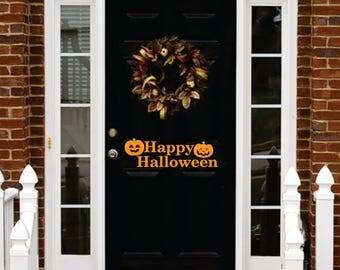 HAPPY HALLOWEEN DOOR decal with 2 pumpkins vinyl wall art sticker decal halloween decorations decor