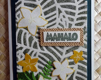 Hawaiian mahalo (thank you) card with plumeria and foliage