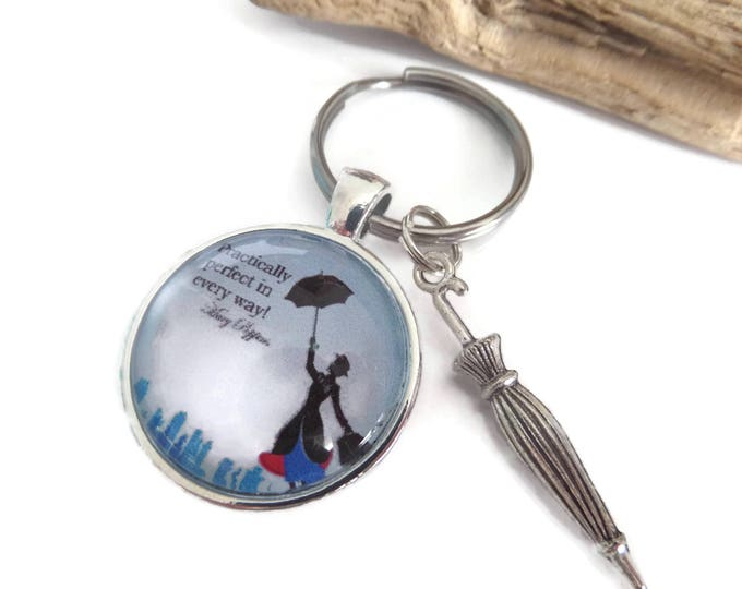 practically perfect gift, poppins keyring, umbrella gift, mary poppins gift, teacher gift, friend present, film gift, glass cabochon