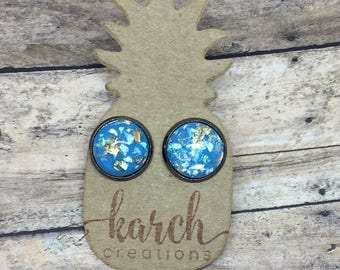 Blue Earrings | Gold Flake Earrings | Gunmetal | Stud Earrings
