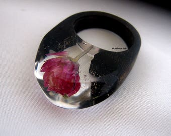 Ring black Gabon ebony and resin