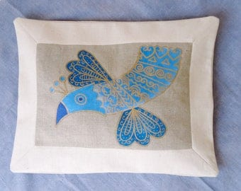 """Pillow cover linen/cotton, bird painting Pearly blue and gold, breton bird """"Fulup Glaz"""", Laboutikasoizic"""
