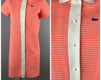 Vintage 1970s Chemise Lacoste Polo Tennis Dress Orange Stripe Collared Blue Alligator
