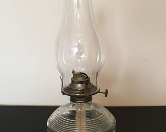 Oil Lamp ~ Hurricane Lamp ~ Farmhouse Decor ~ Ring and Block Design  ~ Clear Glass ~ Vintage