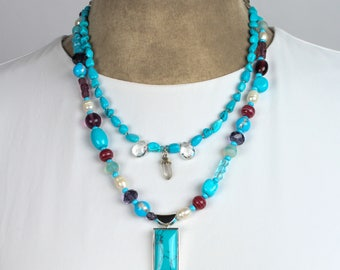 Dual Strand Necklace with Turquoise & Sterling Pendant and Crystals
