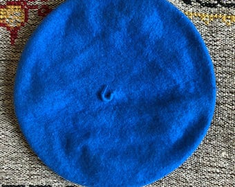 blue wool french beret / one size fits most
